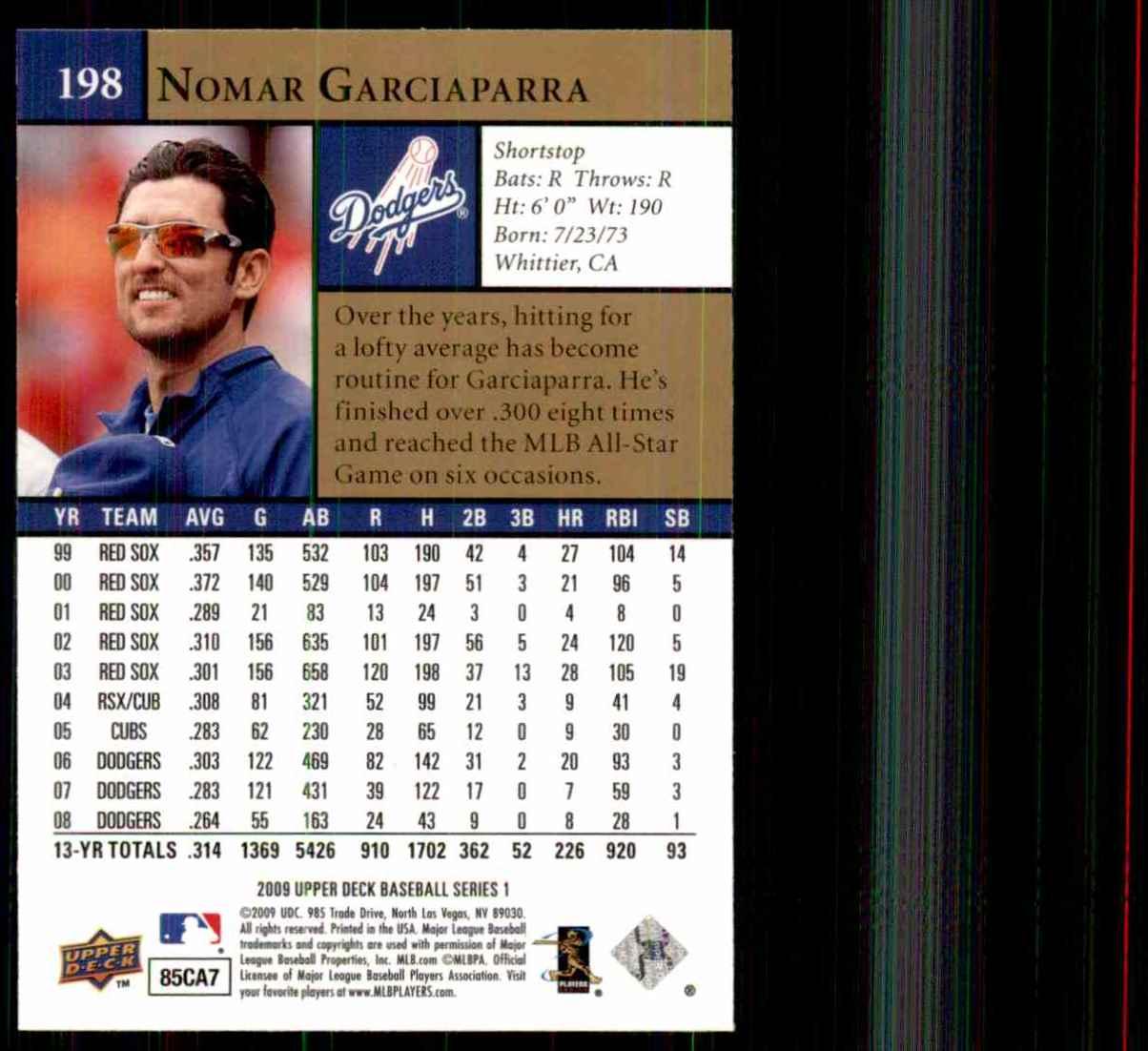 2009 Upper Deck Nomar Garciaparra #198 card back image