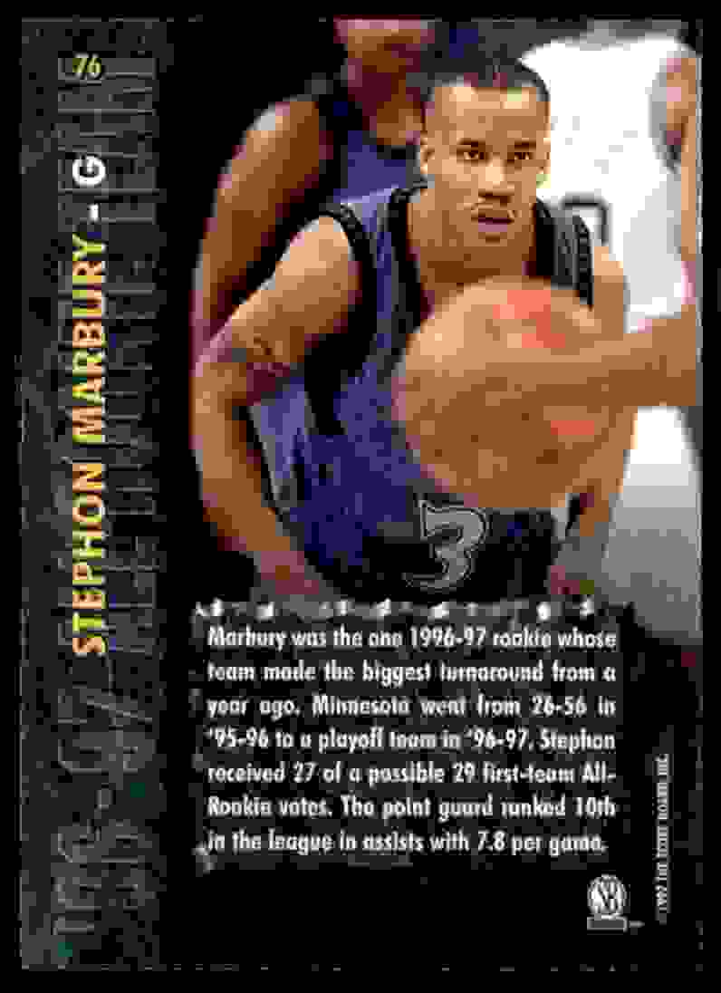 1997-98 Score Board Stephon Marbury Art #76 card back image