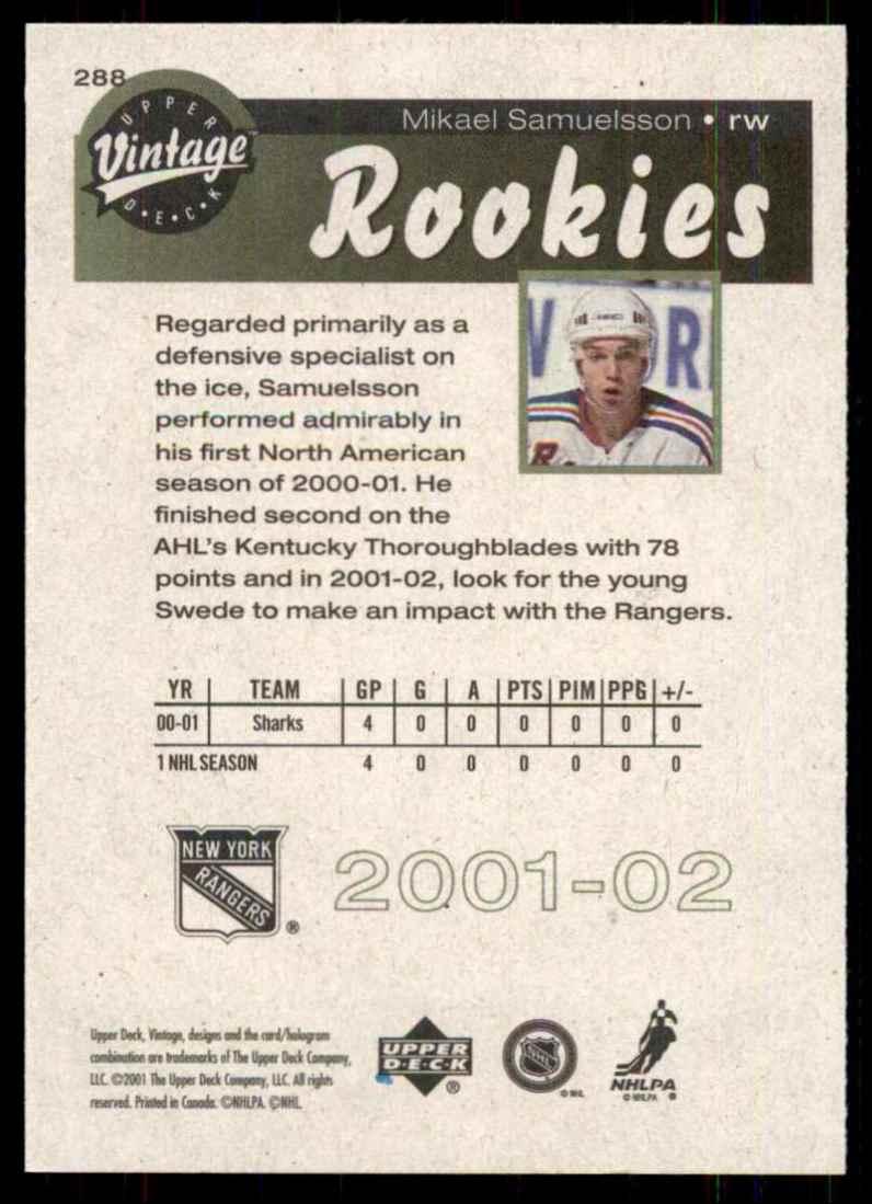 2001-02 Upper Deck Vintage Mikael Samuelsson RC #288 card back image