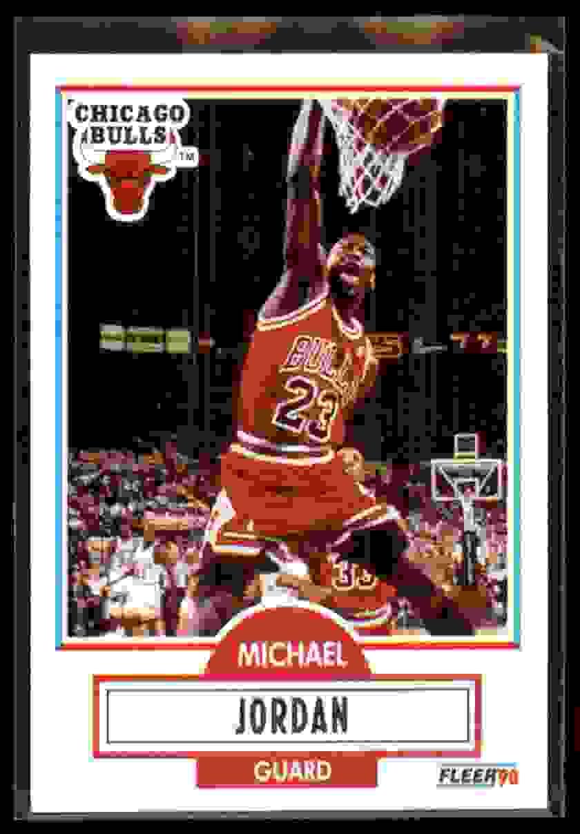 1990-91 Fleer Michael Jordan UER/(Led NBA In Scoring 4 Years, Not 3) #26 card front image