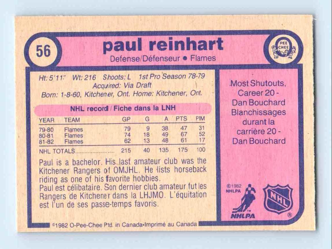 1982-83 O-Pee-Chee Paulreinhart #56 card back image