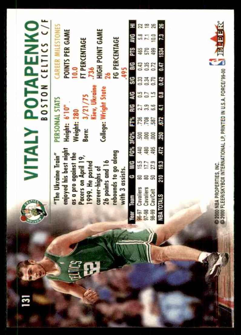 1999-00 Fleer Force Vitaly Potapenko #131 card back image