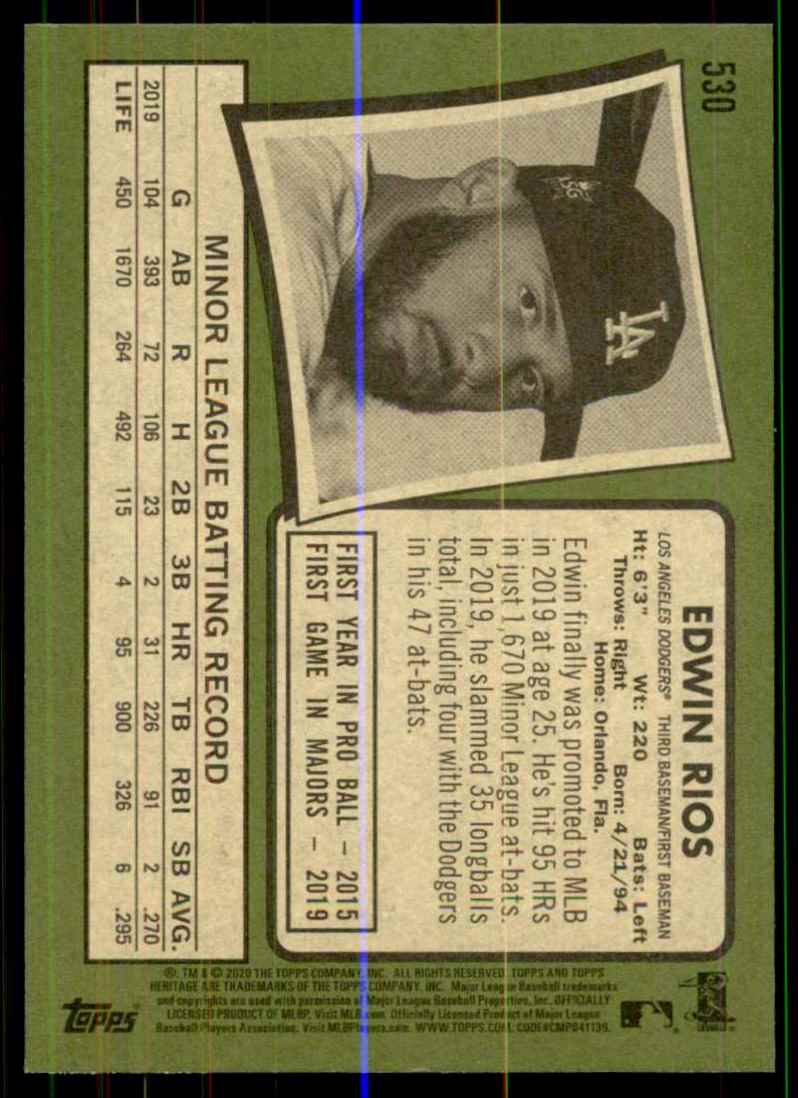 2020 Topps Heritage Edwin Rios RC #530 card back image