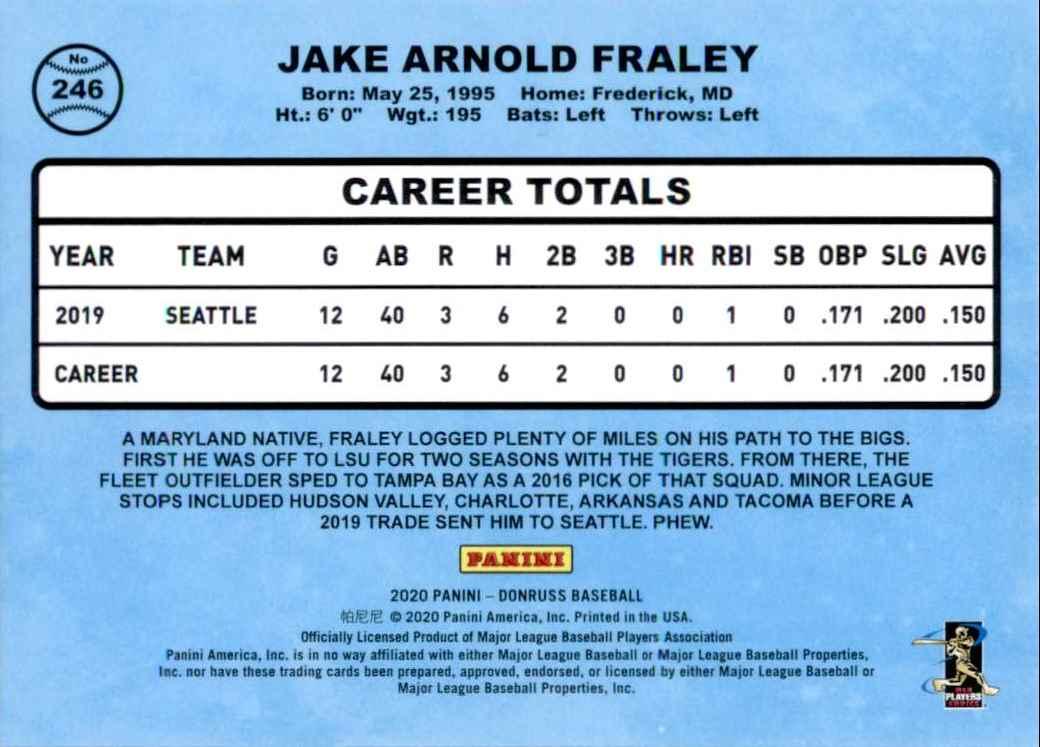 2020 Donruss Jake Fraley Retro RC #246 card back image