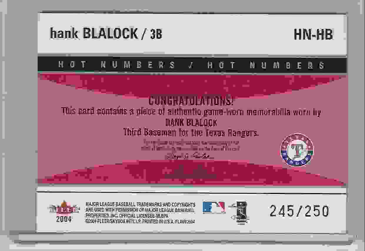 2004 Flair Hot Numbers Game Used Blue Hank Blalock #HB card back image