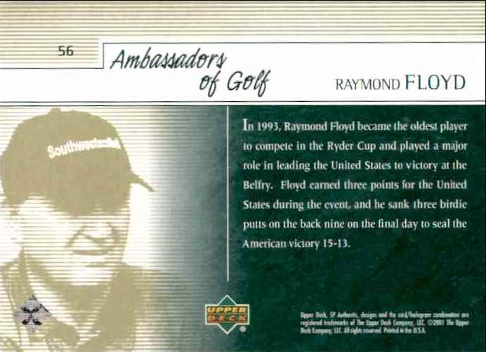 2001 SP Authentic Preview Raymond Floyd Ag #56 card back image