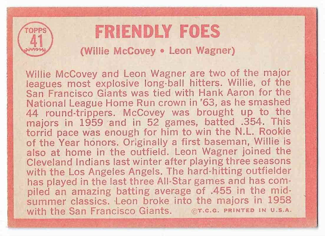 1964 Topps Willie McCovey/Leon Wagner #41 card back image
