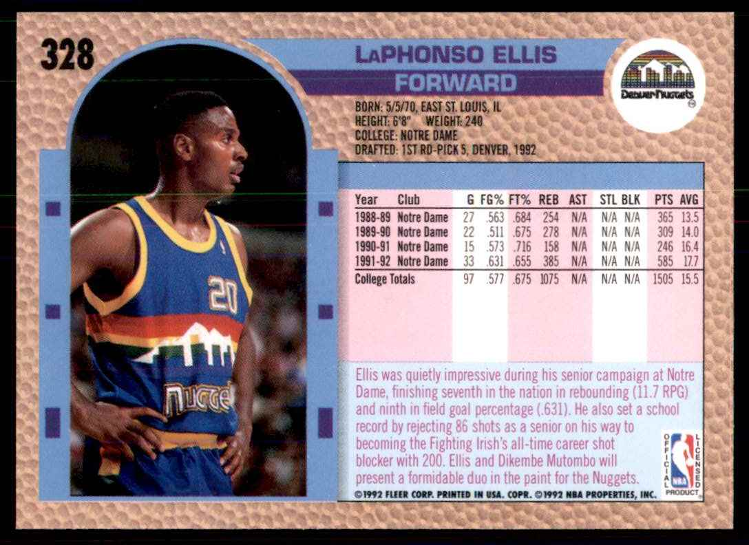 1992-93 Fleer LaPhonso Ellis RC #328 card back image