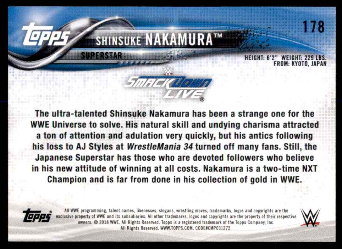 2018 Topps Wwe Then Now Forever Shinsuke Nakamura #178 card back image