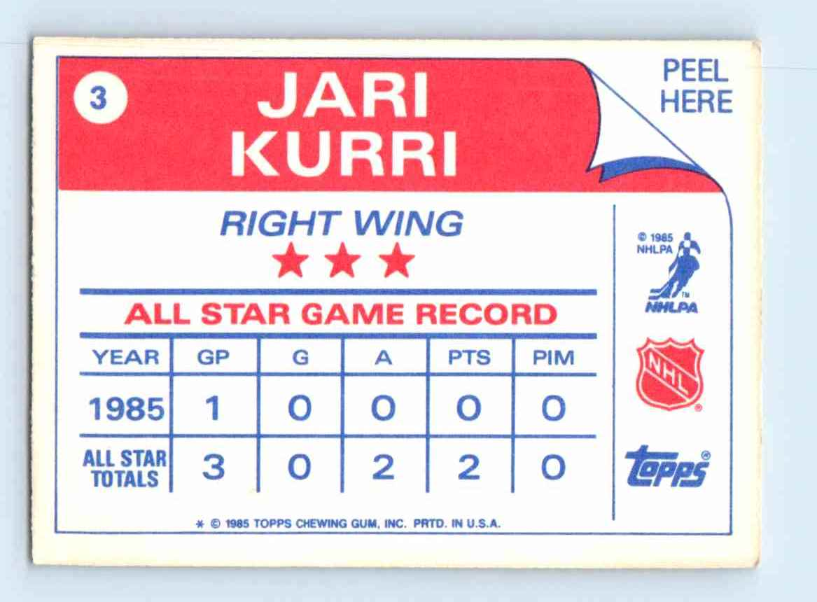 1985-86 Topps Sticker Inserts Jari Kurri #3 card back image