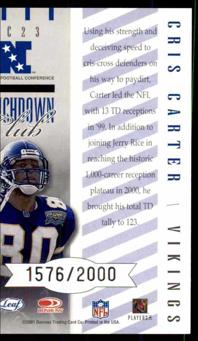 2001 Quantum Leaf Touchdown Club Cris Carter #TC23 card back image
