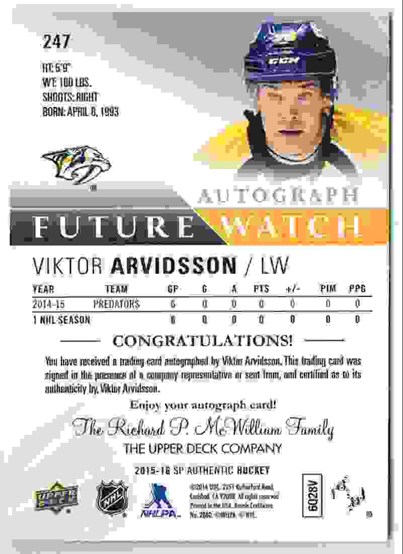 2015-16 SP Authentic Future Watch Victor Arvidsson #247 card back image