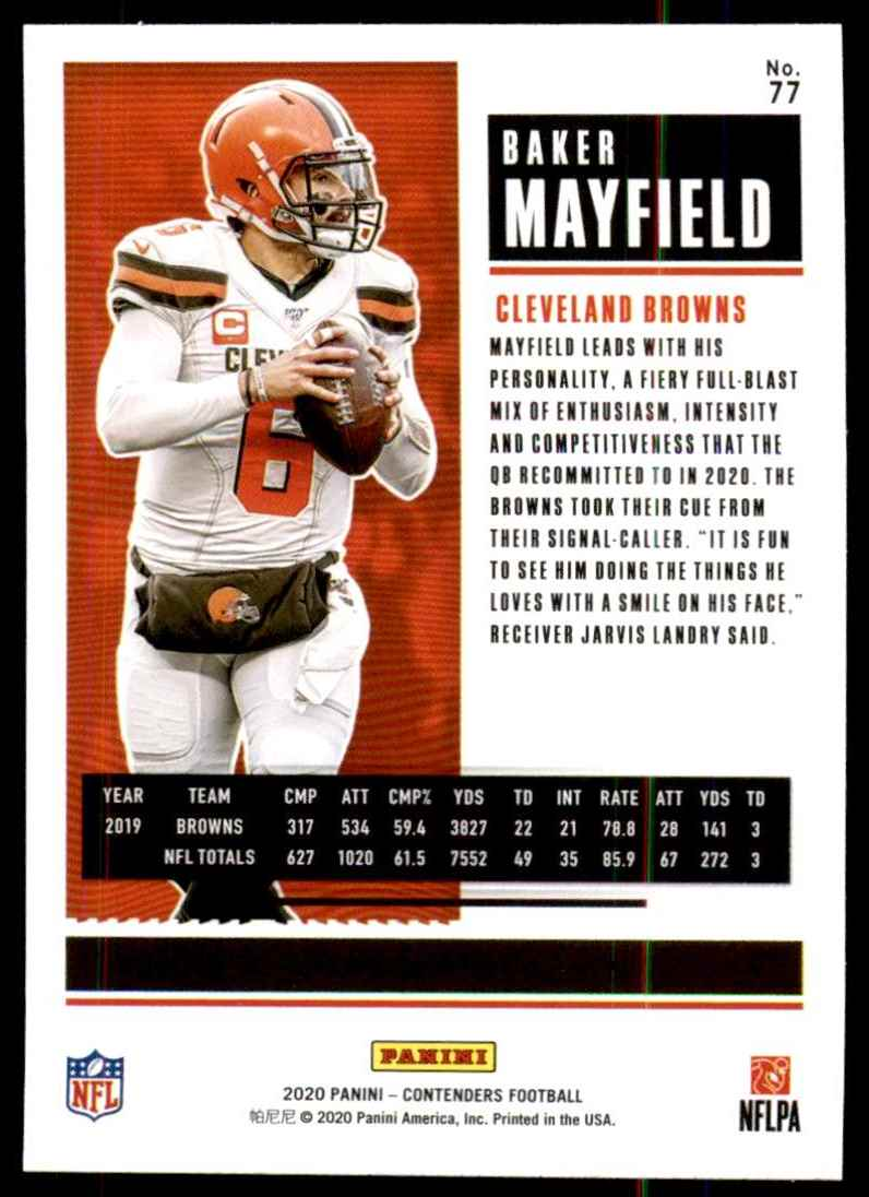 2020 Panini Contenders Baker Mayfield #77 card back image