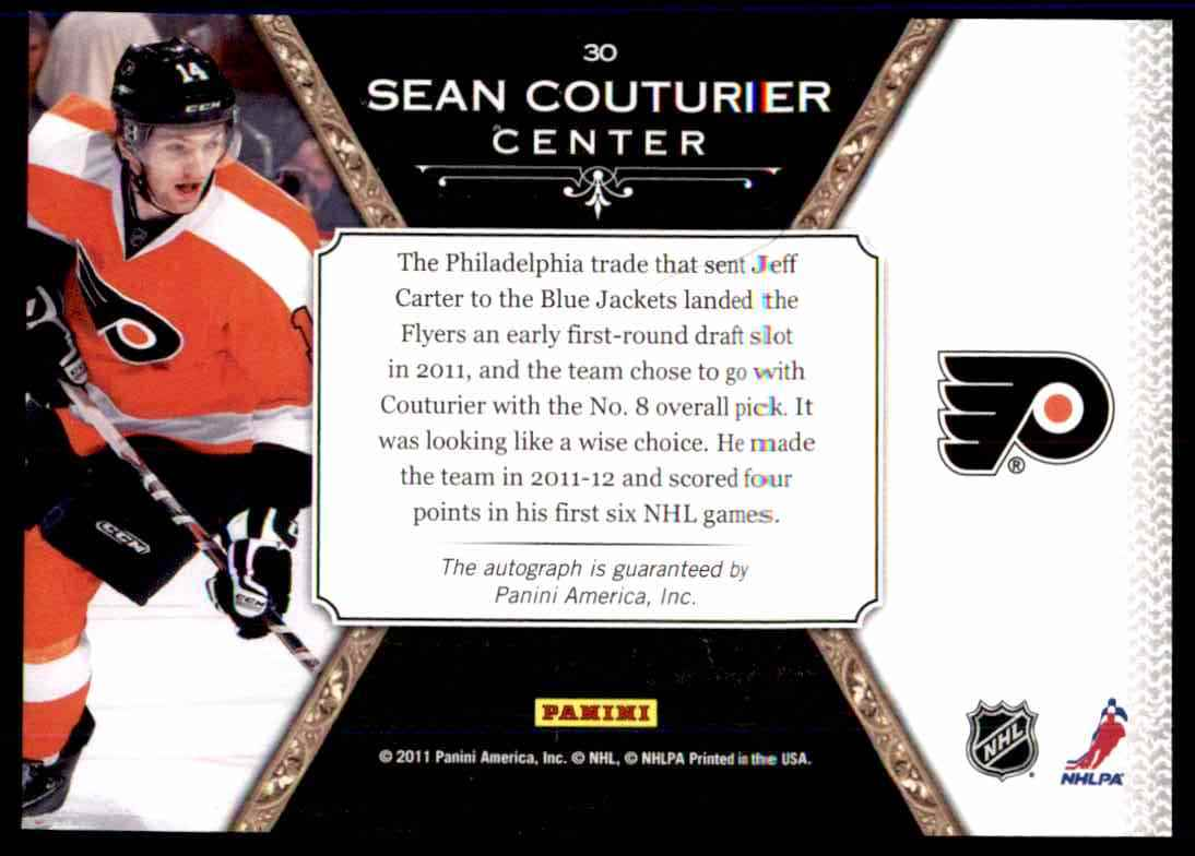 2011-12 Panini Crown Royale Scratching The Surface Sean Couturier #30 card back image
