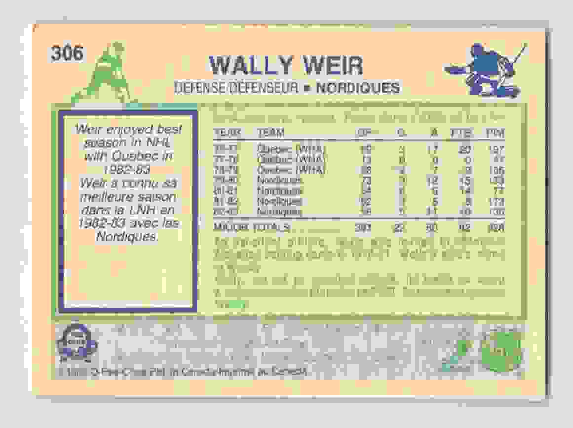 1983-84 O-Pee-Chee Wally Weir #306 card back image