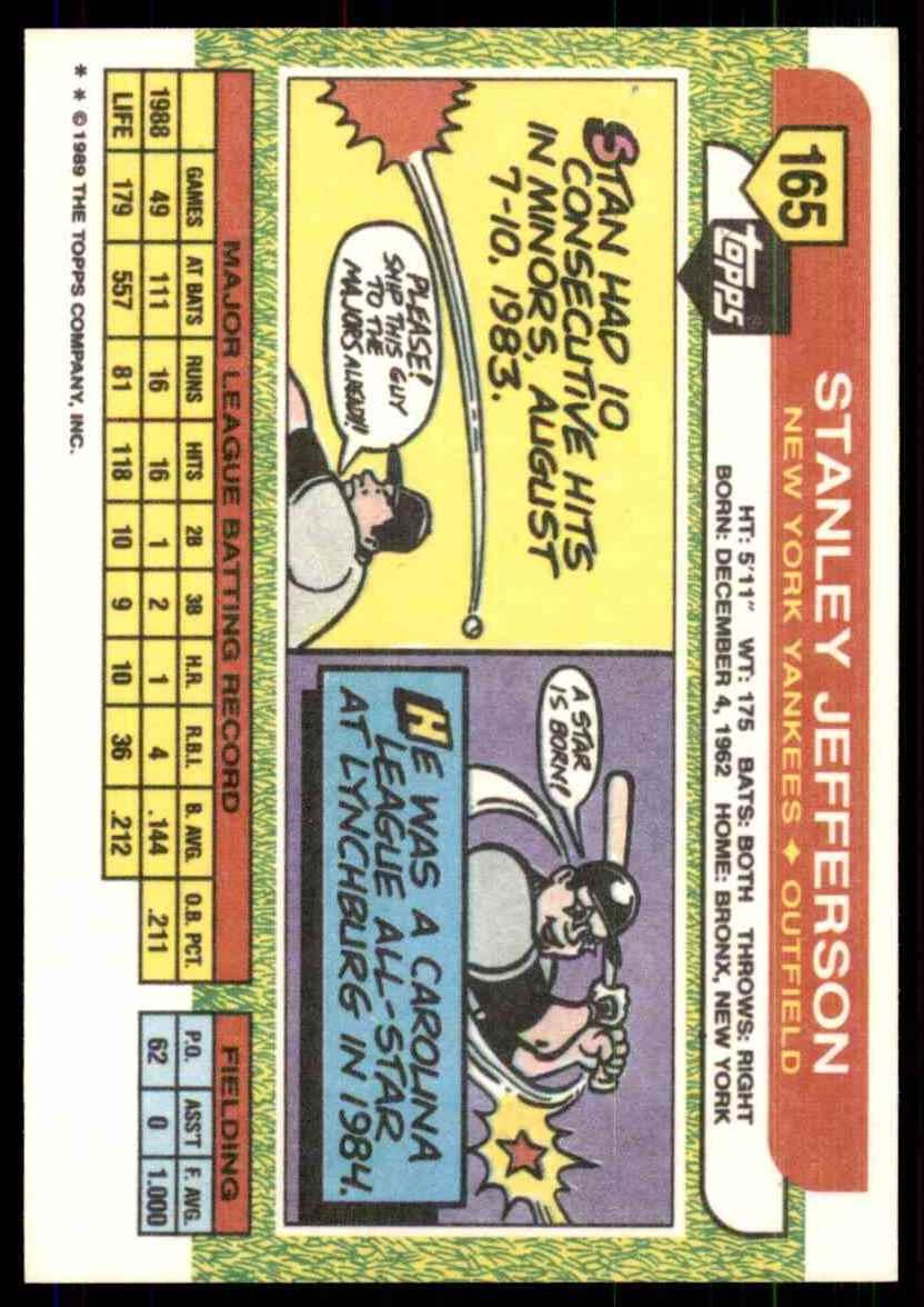 1989 Topps Big Stan Jefferson #165 card back image