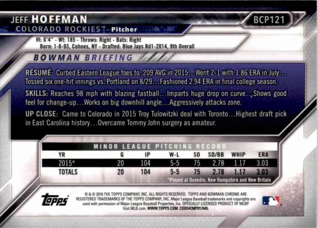 2016 Bowman Chrome Prospects Jeff Hoffman #121 card back image