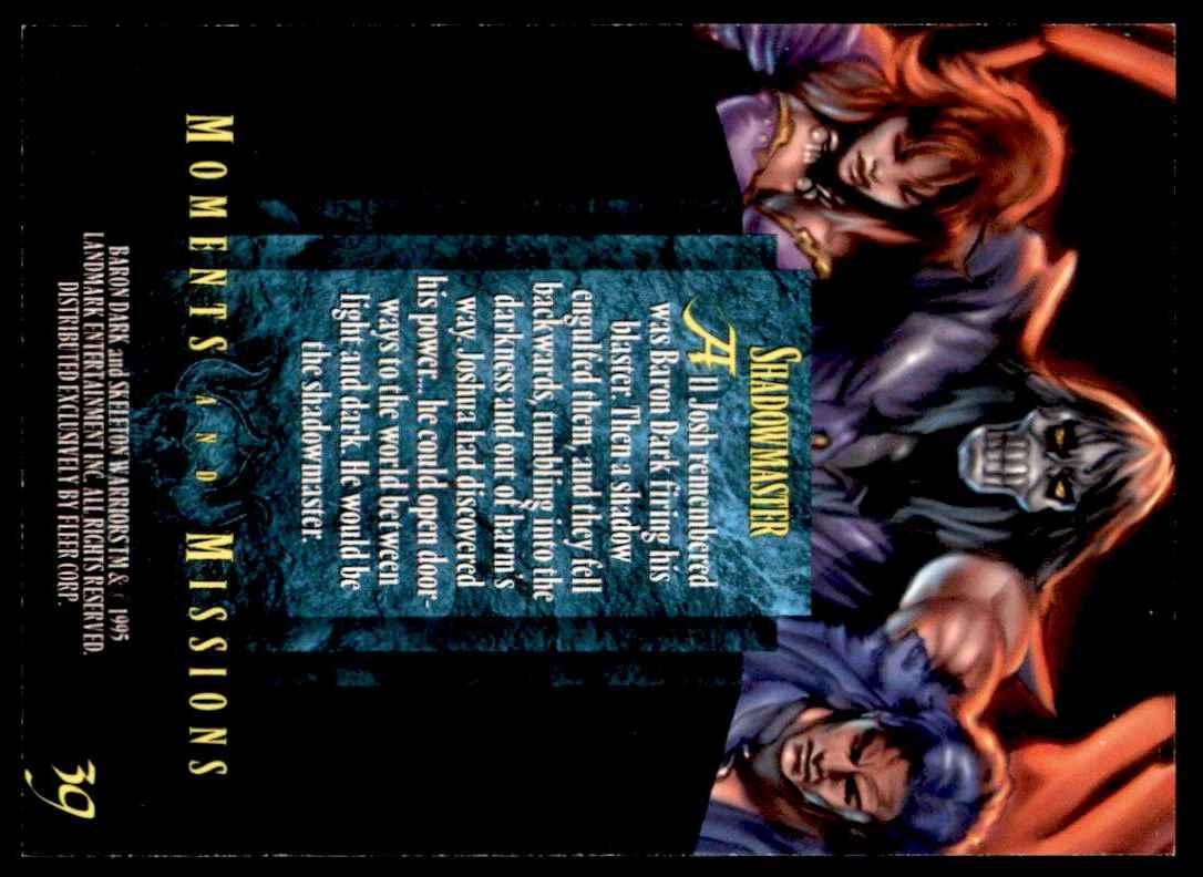 1995 Skeleton Warriors Ultra Fleer Shadowmaster #39 card back image