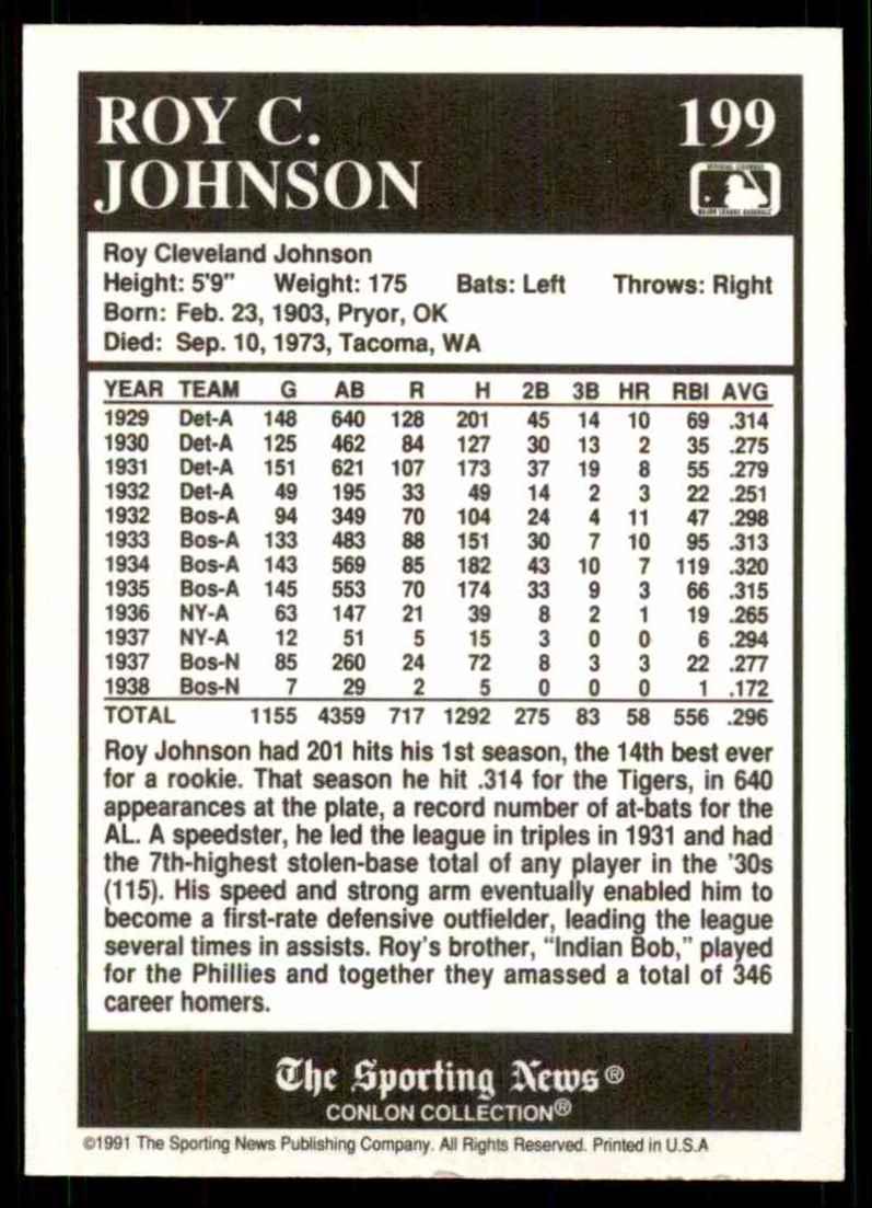 1991 Conlon Tsn Roy Johnson #199 card back image