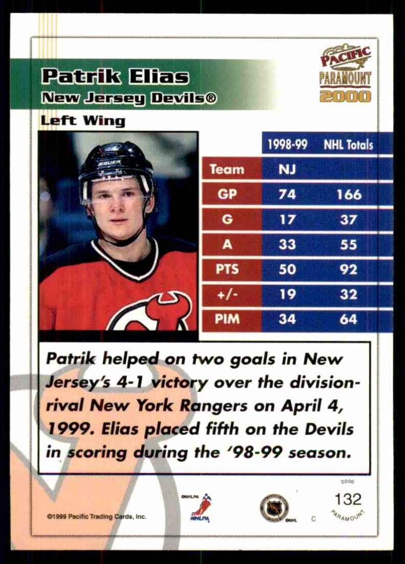 1999-00 Pacific Paramount Ice Blue Patrik Elias #132 card back image