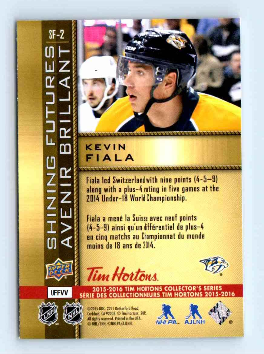 2015-16 Upper Deck Tim Hortons Kevin Fiala #SF-2 card back image