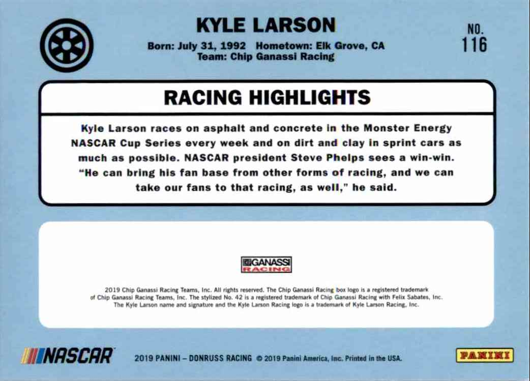 2019 Donruss Kyle Larson #116 card back image