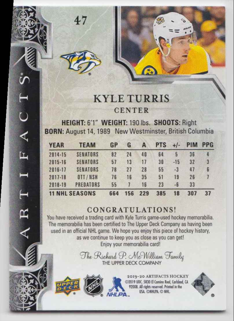 2019-20 Artifacts Materials Gold Kyle Turris #47 card back image