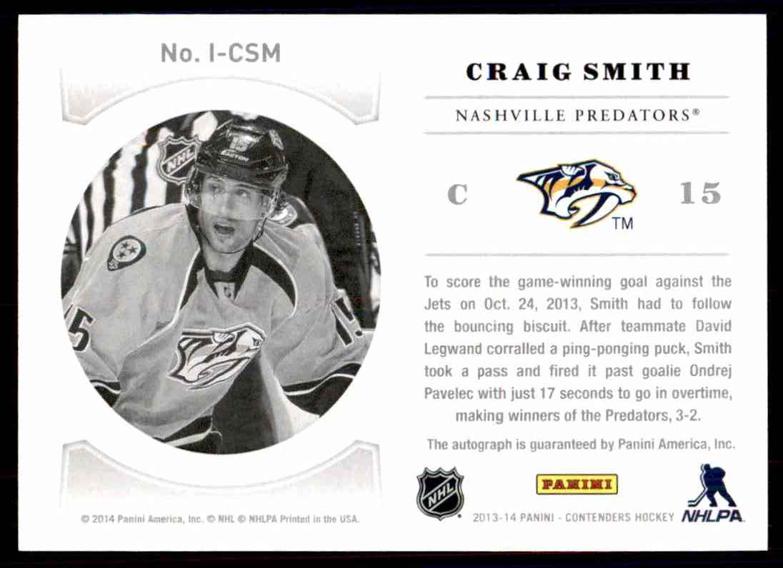 2013-14 Panini Contenders NHL Ink ! Craig Smith #I-CSM card back image
