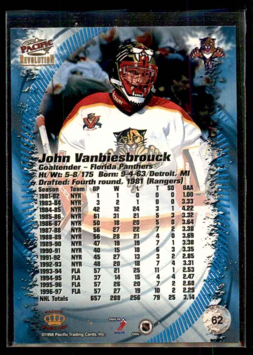 1997-98 Revolution Copper John Vanbiesbrouck #62 card back image
