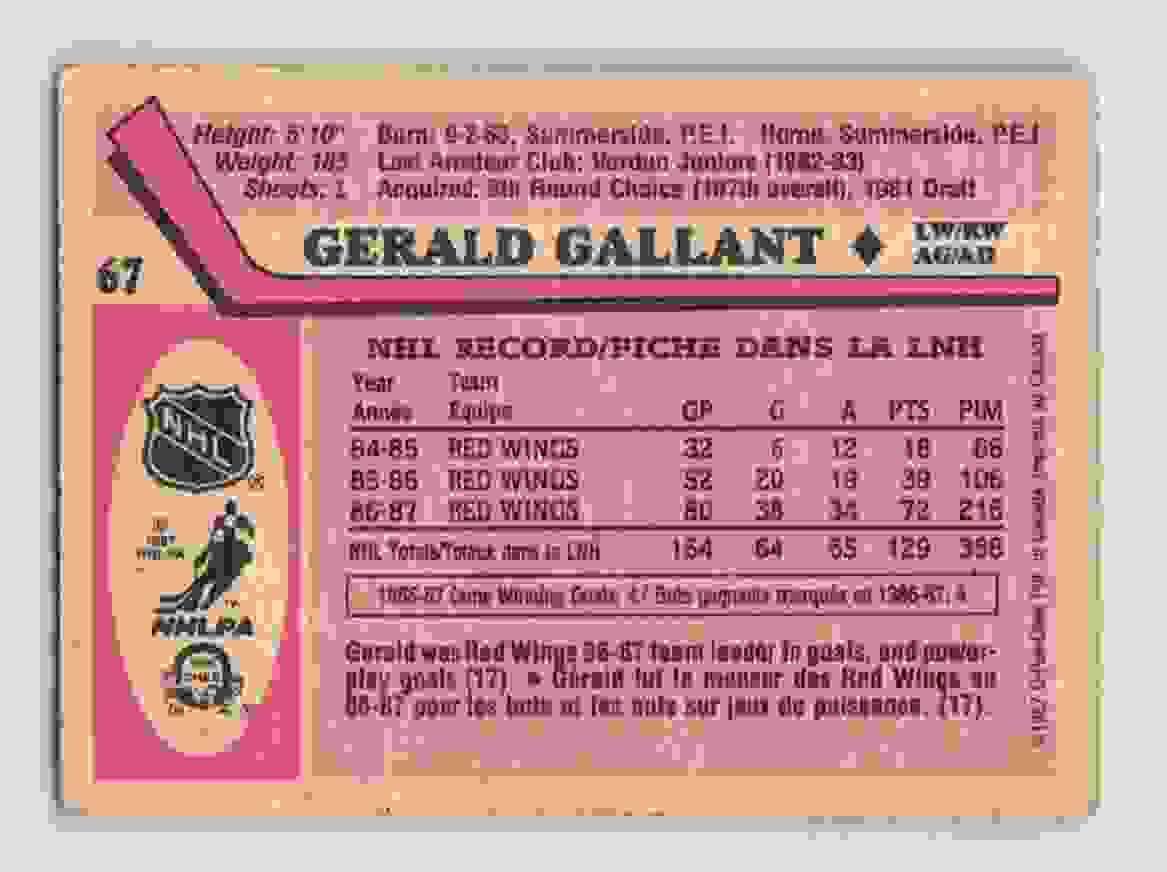 1987-88 O-Pee-Chee Gerald Gallant #67 card back image
