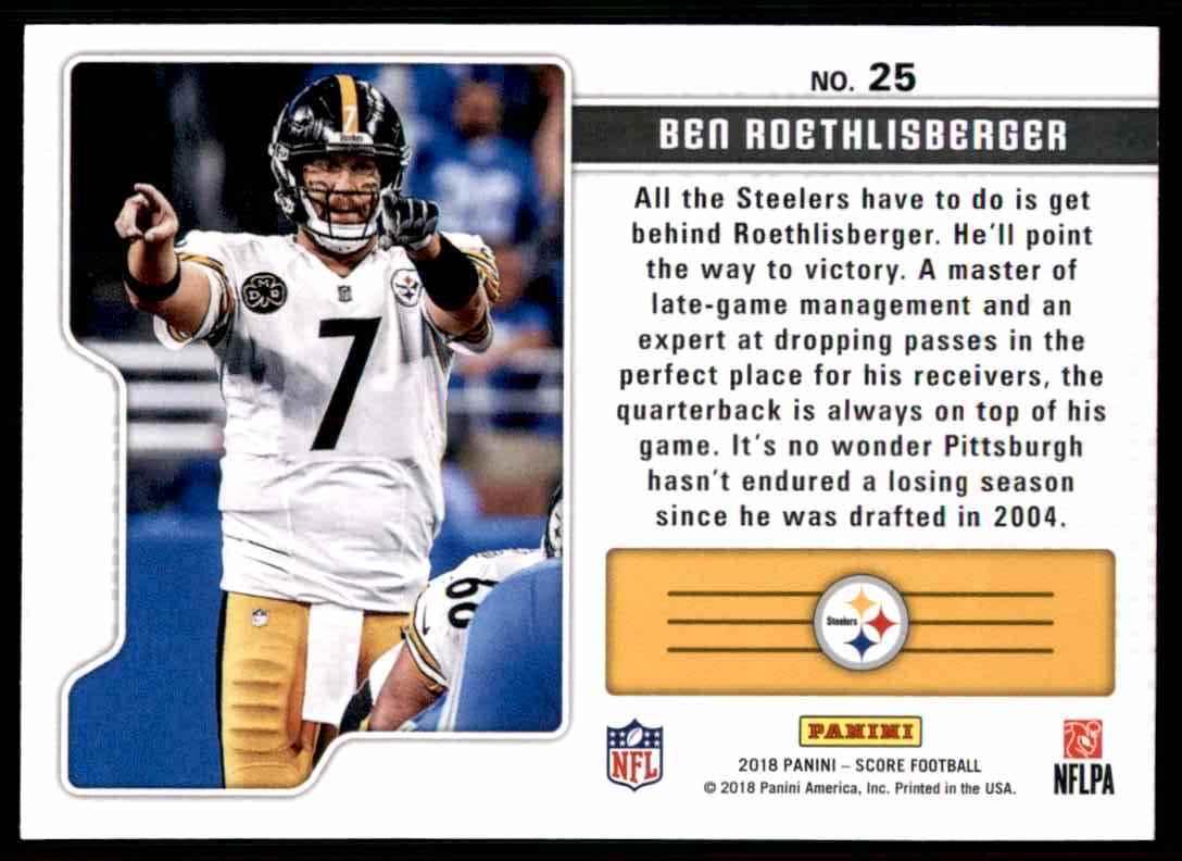 2018 Score Signal Callers Ben Roethlisberger #25 card back image