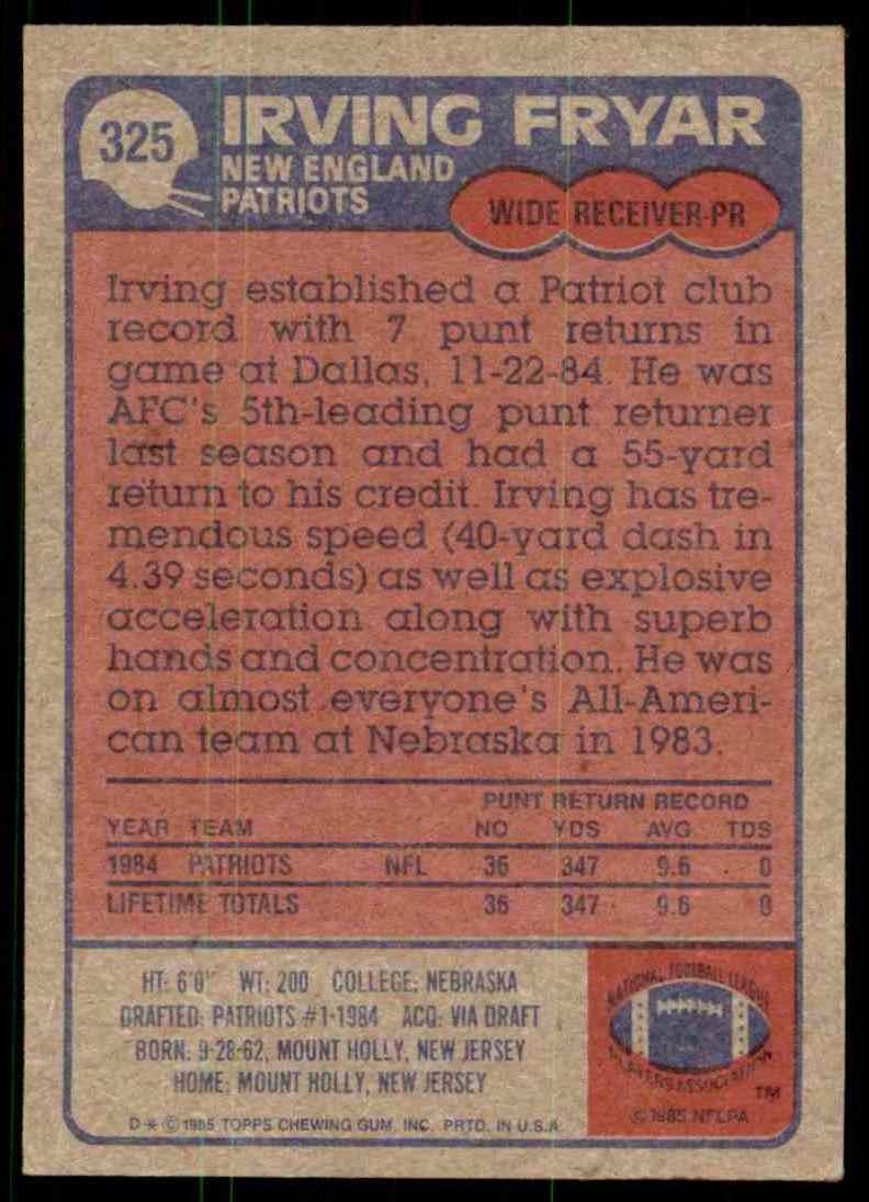 1985 Topps Irving Fryar #325 card back image