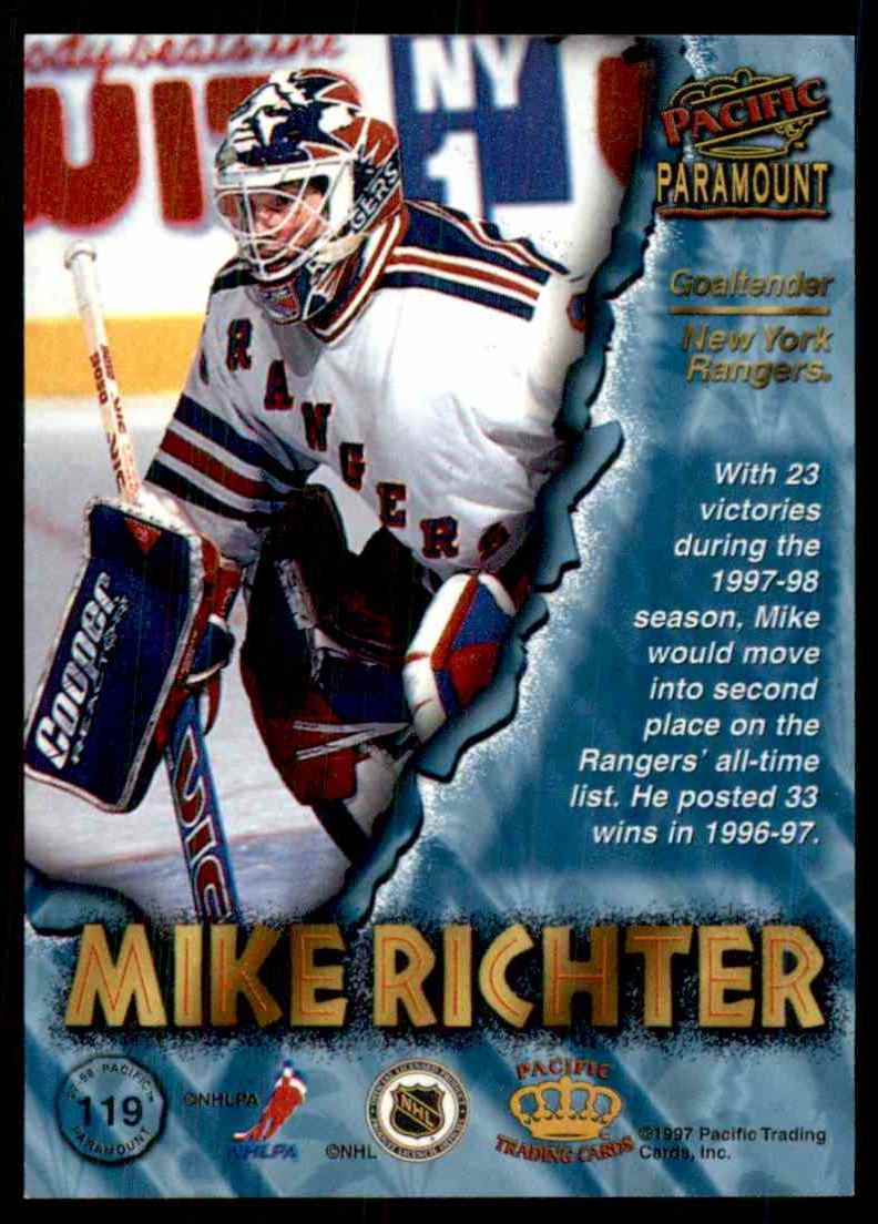 1997-98 Pacific Paramount Silver Mike Richter #119 card back image