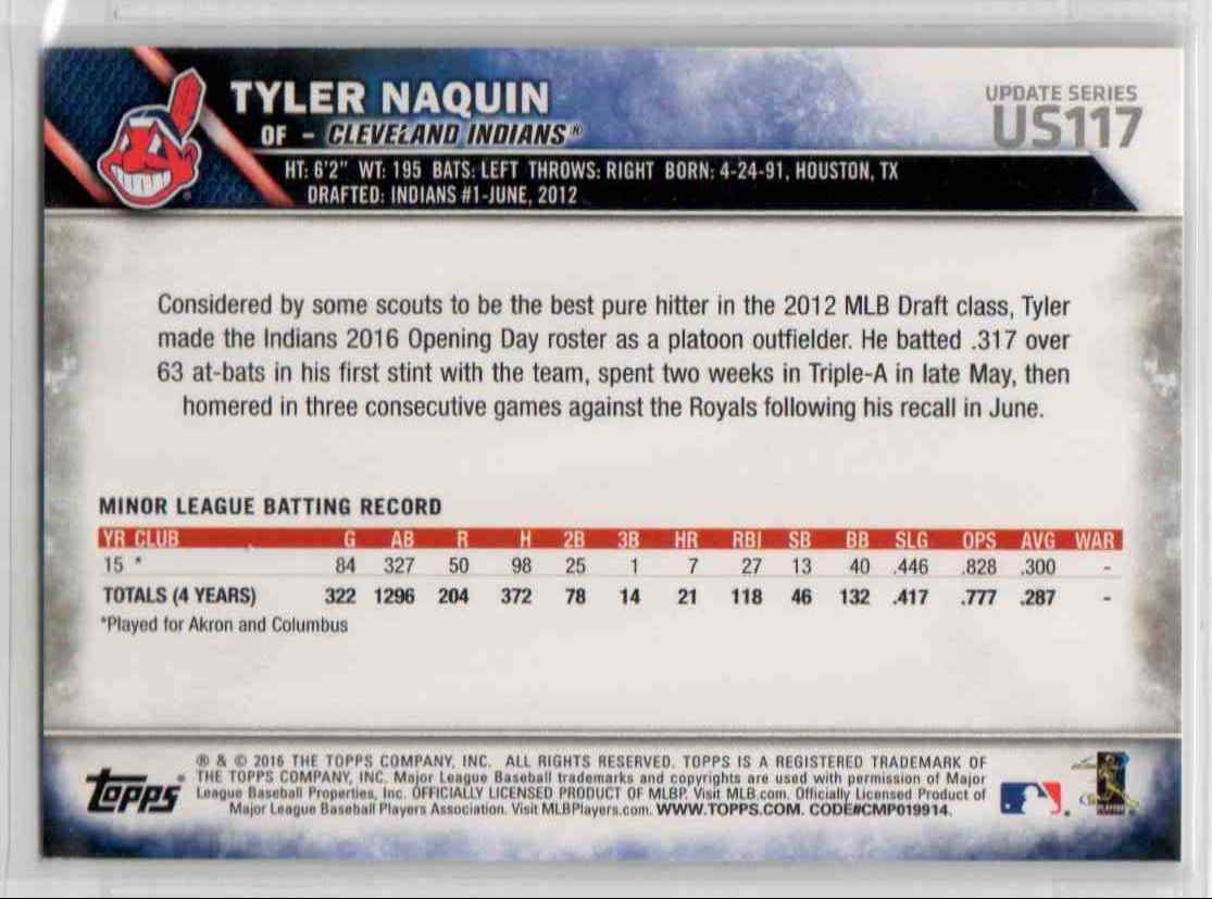 2016 Topps Update Tyler Naquin #US117 card back image