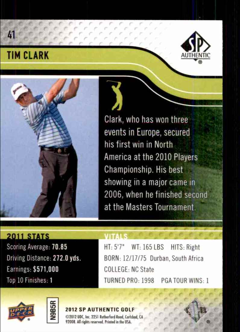 2012 SP Authentic Tim Clark #41 card back image