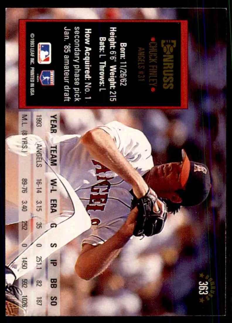 1994 Donruss Chuck Finley #363 card back image