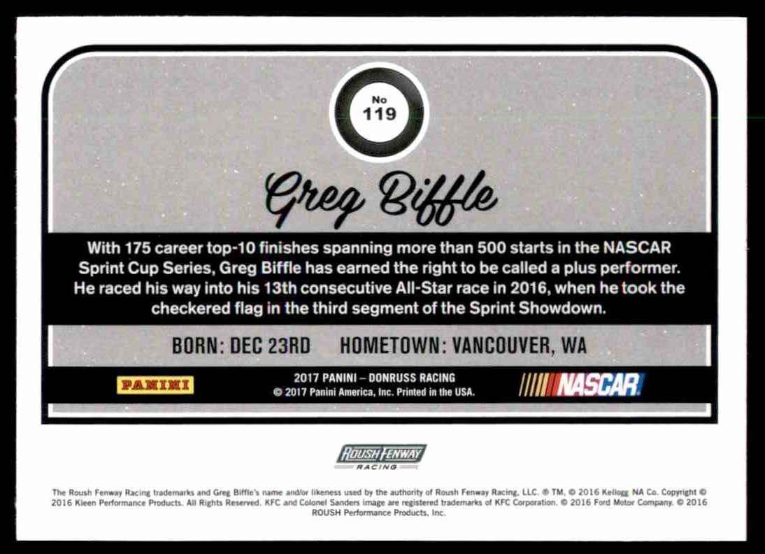 2017 Donruss Greg Biffle #119 card back image
