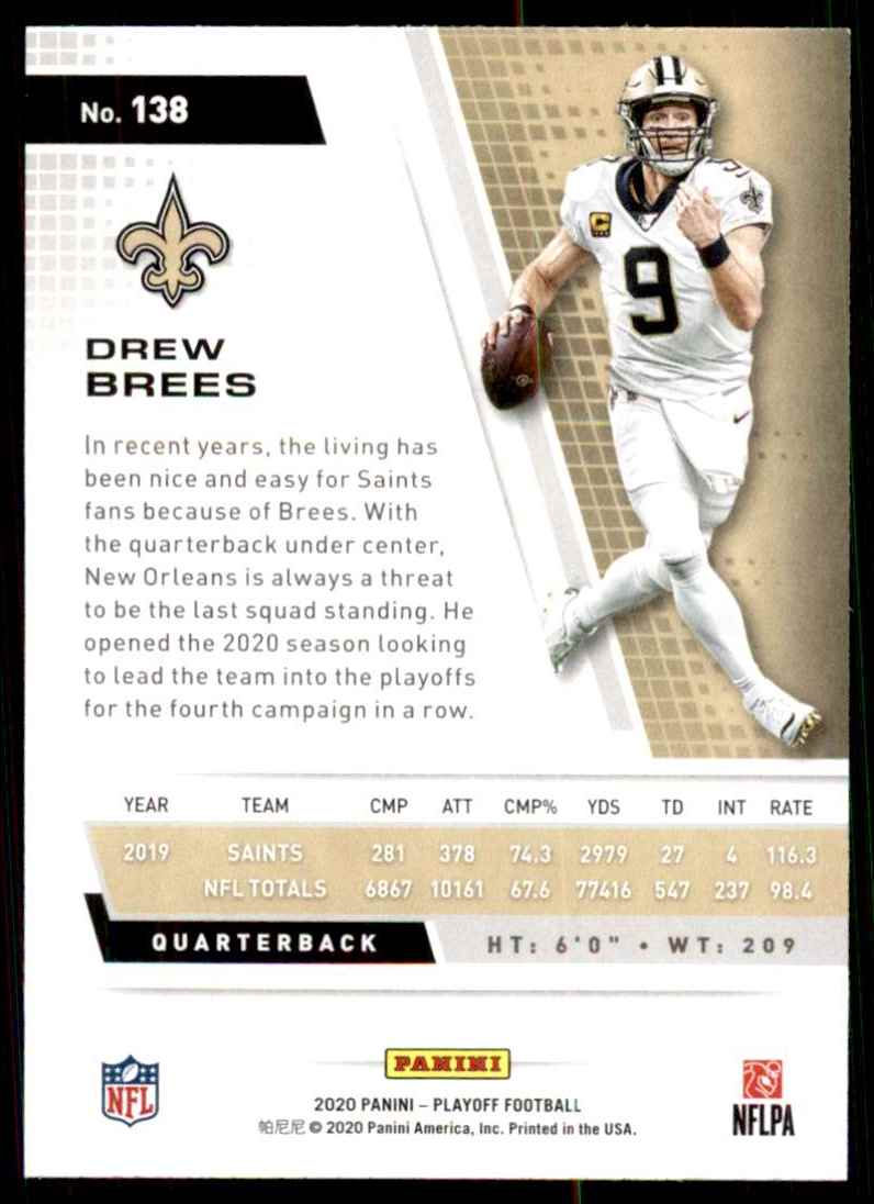 2020 Playoff Drew Brees #138 card back image