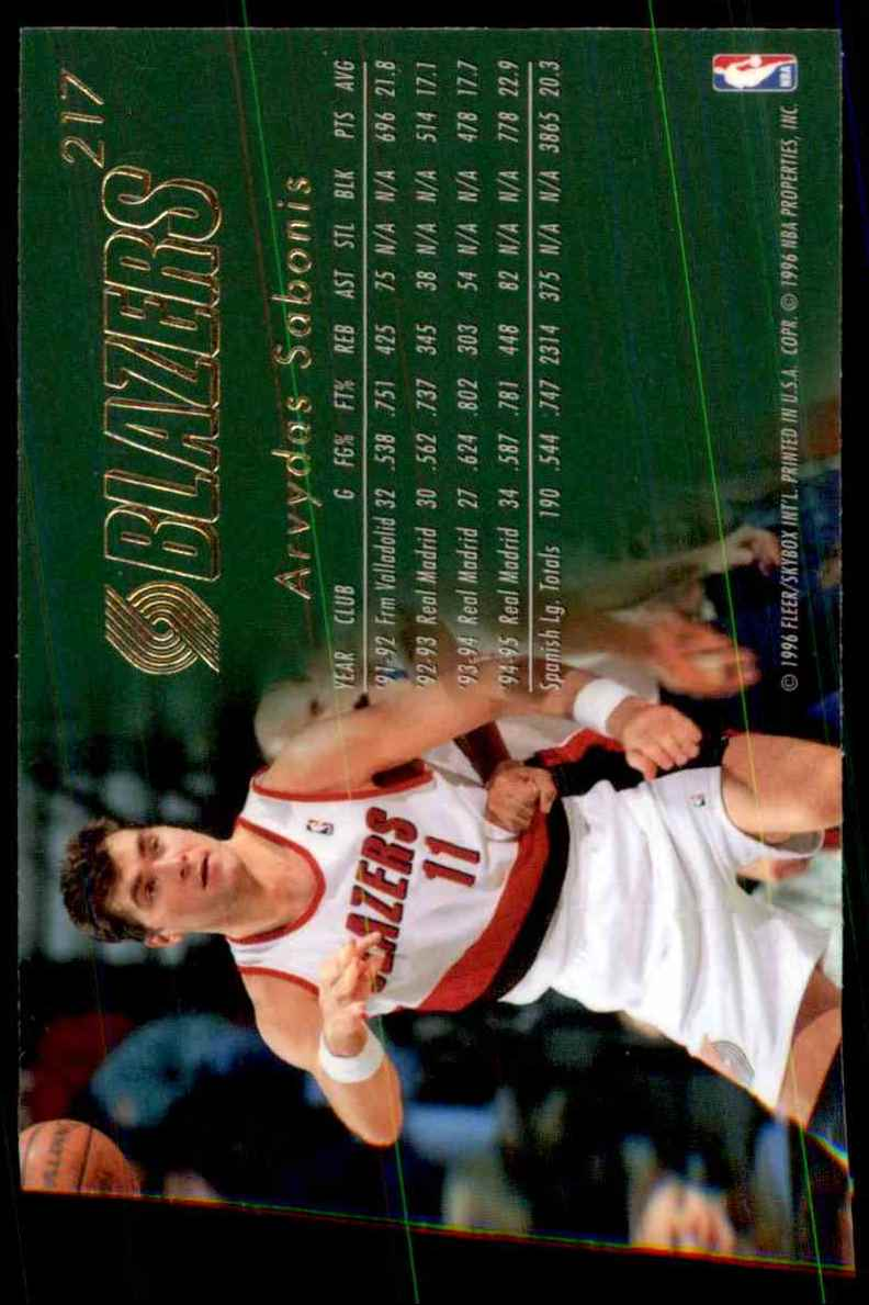1995-96 Flair Arvydas Sabonis RC #217 card back image