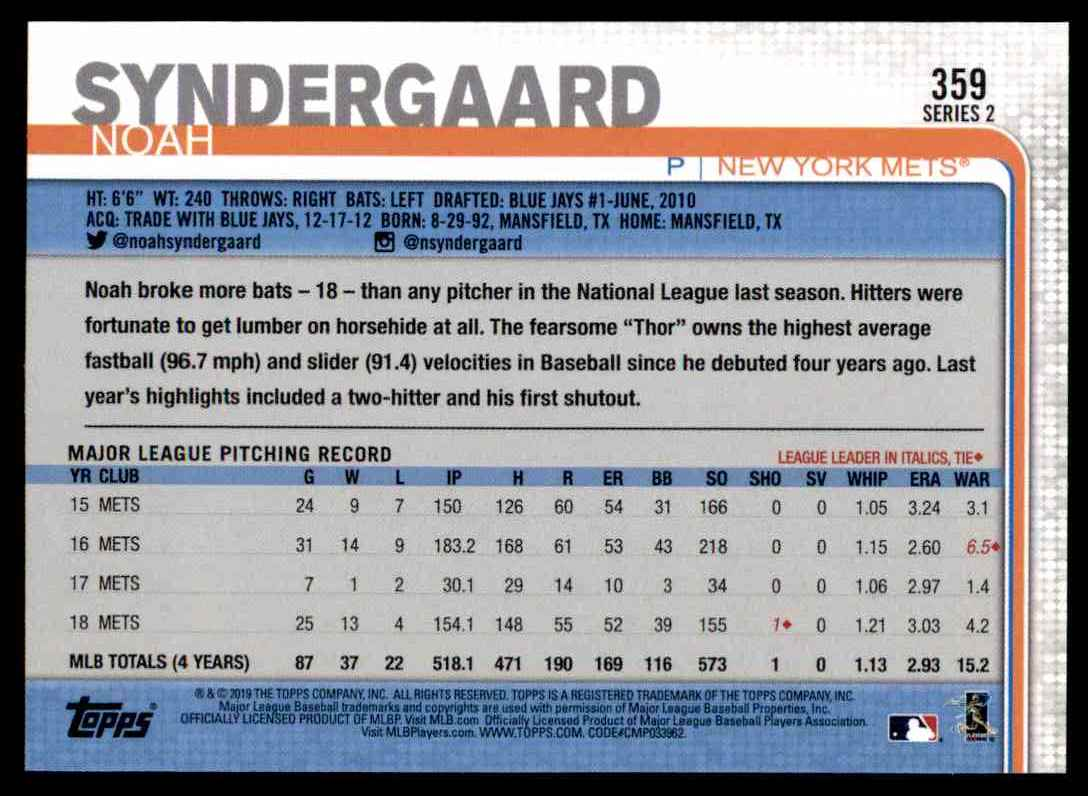 2019 Topps Series 2 Noah Syndergaard #359 card back image