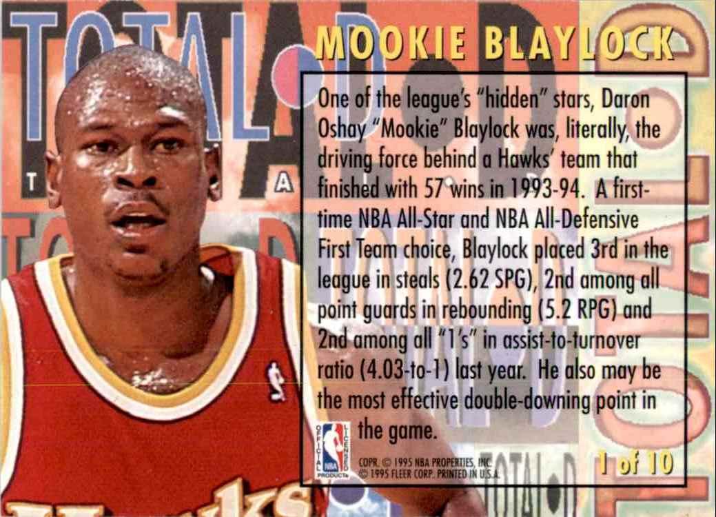 1994-95 Fleer Total D Mookie Blaylock #1 card back image