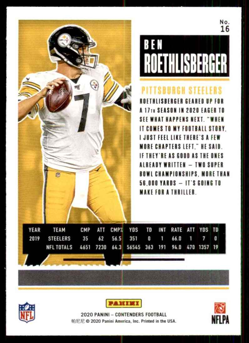 2020 Panini Contenders Ben Roethlisberger #16 card back image