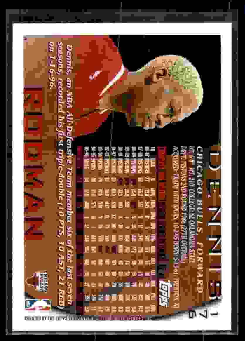 1996-97 Topps Dennis Rodman #176 card back image