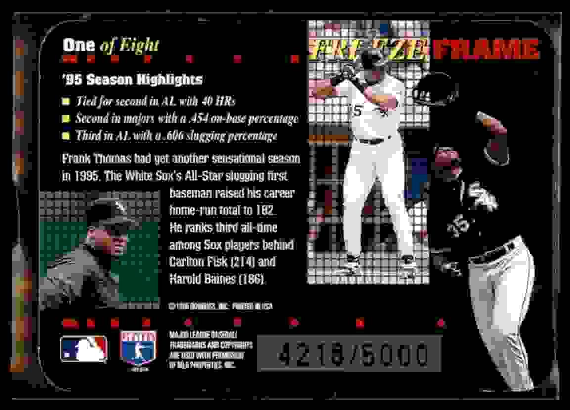 1996 Donruss Freeze Frame Frank Thomas #1 card back image