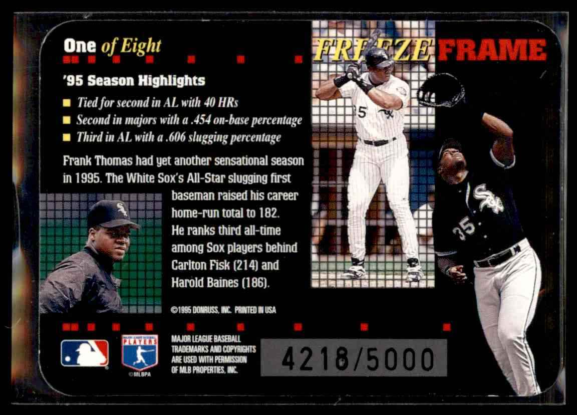 1996 Donruss Freeze Frame Frank Thomas #1 card back image