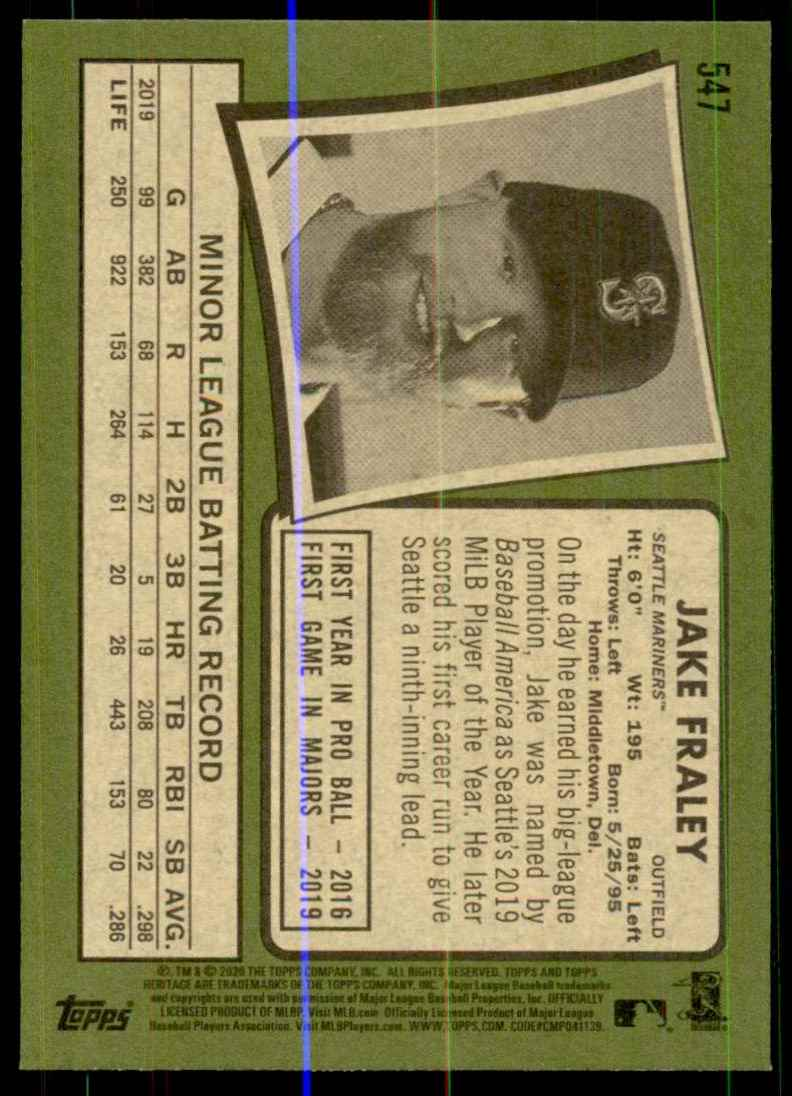 2020 Topps Heritage Jake Fraley RC #547 card back image