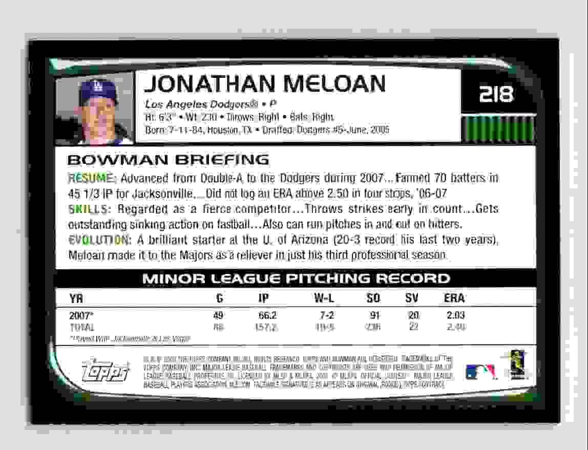 2008 Bowman Jonathan Meloan #218 card back image