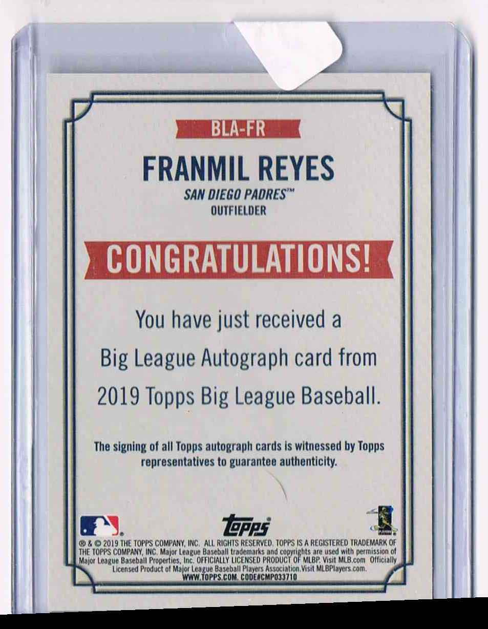 2019 Topps Big League Franmil Reyes card back image