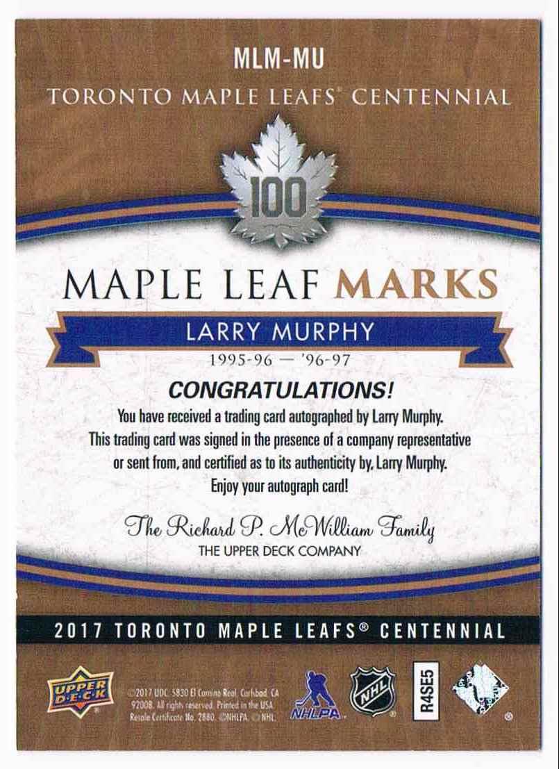 2017-18 Upper Deck Marks Centannial Autographs Larry Murphy #MLM-MU card back image