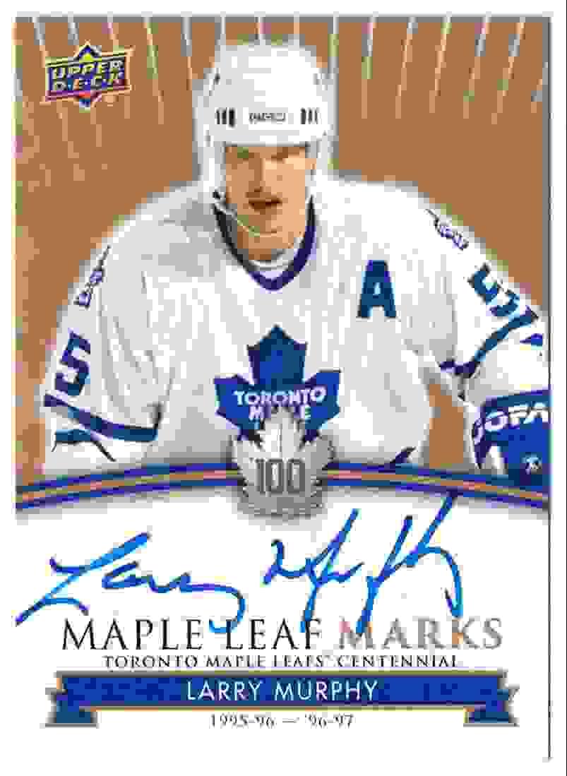 2017-18 Upper Deck Marks Centannial Autographs Larry Murphy #MLM-MU card front image